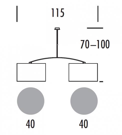 TWIN LS-D Lampa Sufitowa wymiary