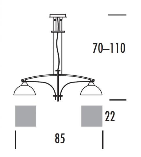 TORONTO Ż-R 2 Żyrandol regulowany wymiary
