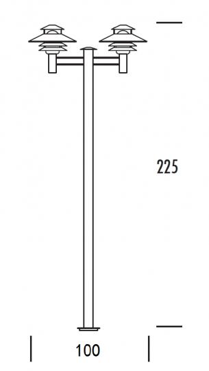 SCANIA LO 2/2 2,25m  Lampa Ogrodowa 2 wymiary