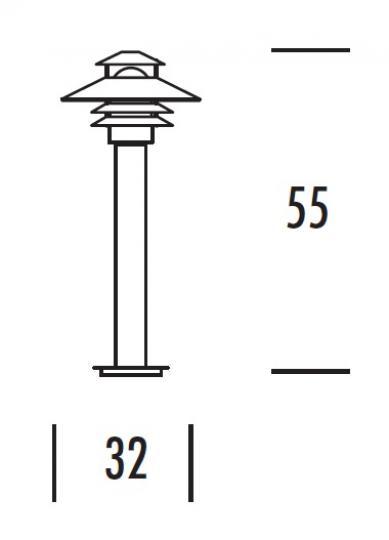 SCANIA LO 0,55m Lampa Ogrodowa wymiary