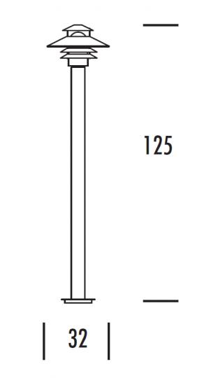 SCANIA LO 1,25m Lampa Ogrodowa wymiary