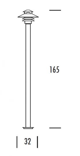 SCANIA LO 1,65m Lampa Ogrodowa wymiary