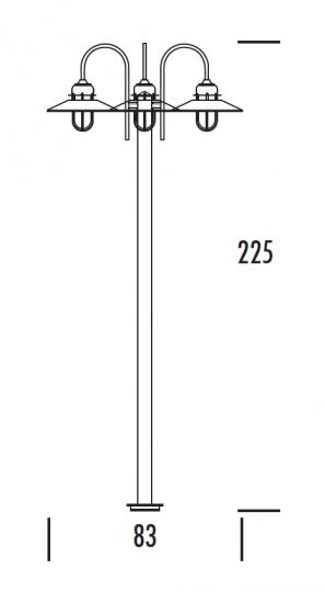 POMERANIA LO3 2,25m Lampa Ogrodowa wymiary