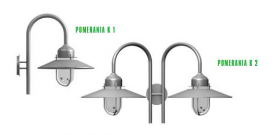 POMERANIA K1, K2 Kinkiet Ogrodowy rodzaje