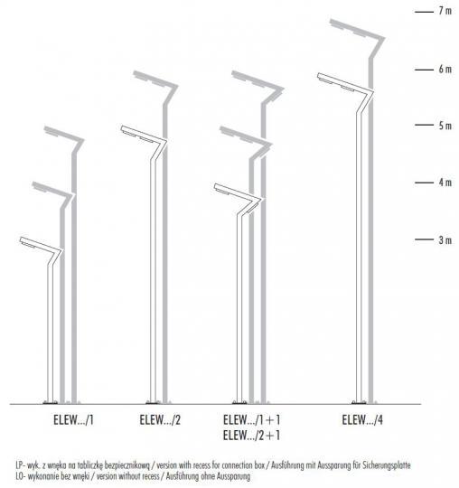 ELEW LP 3-7m Latarnia Parkowa wymiary
