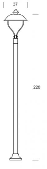 WARMIA LO K 2,2m Lampa Ogrodowa wymiary