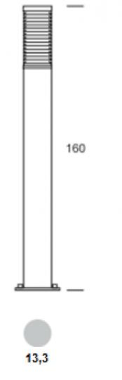 BOLARD LO 1,6m Lampa Ogrodowa wymiary