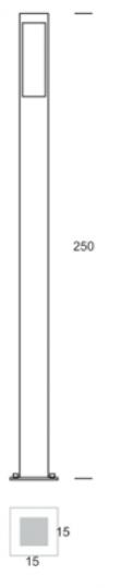 BOKARD LO 2,5m Lampa Ogrodowa wymiary