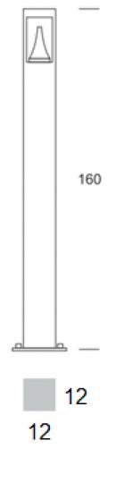 BOKARD LED LO 1,6m Lampa Ogrodowa wtymiary