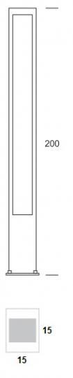 BOVER LED LO 2m Lampa Ogrodowa wymiary