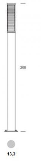 BOLARD LO 2m Lampa Ogrodowa wymiary
