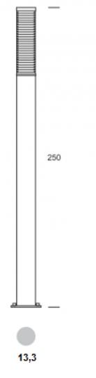 BOLARD LO 2,5m Lampa Ogrodowa wymiary