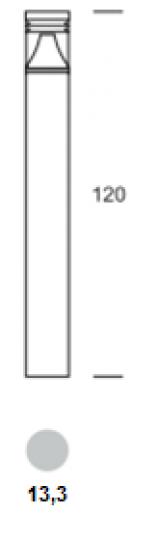 BOLARD LED LO 1,2m Lampa Ogrodowa wymiary