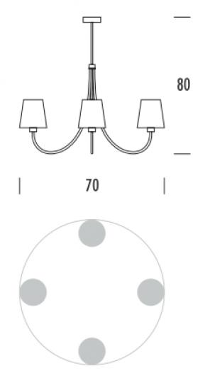 MODENA Ż4 Żyrandol wymiary