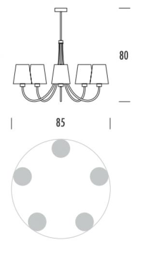 MODENA Ż6 Żyrandol wymiary