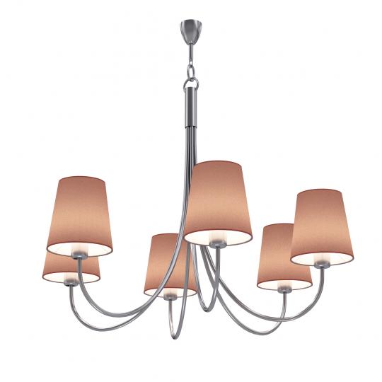 MODENA Ż6 Żyrandol inox, lampa z abażurami do salonu, hotelu, ElmarCo POLSKI producent oświetlenia elmarco_pl
