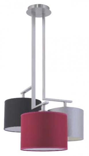 NINA Ż3-M Żyrandol inox, kolorowe abażury, nowoczesna lampa do salonu, hotelu, ElmarCo POLSKI producent oświetlenia elmarco_pl