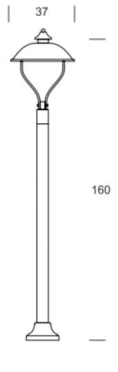 WARMIA LO K 1,6m Lampa Ogrodowa wymiary