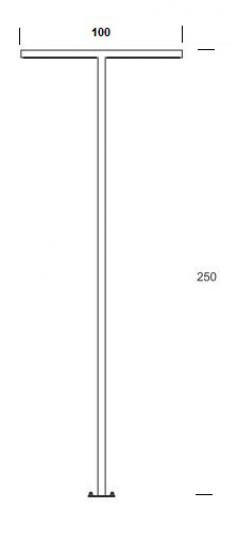 WAY PROSTY LO T 2,5m Lampa Ogrodowa wymiary