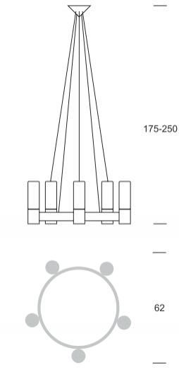 CARLO Ż5 up Żyrandol wymiary