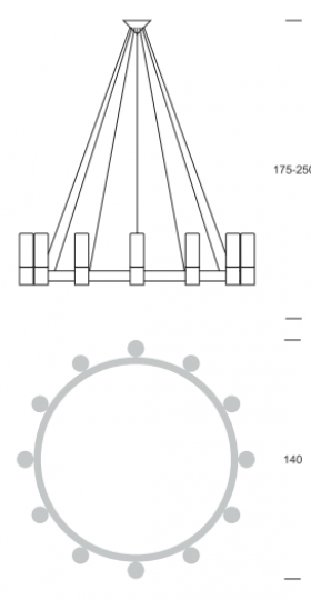 CARLO Ż12 up Żyrandol wymiary