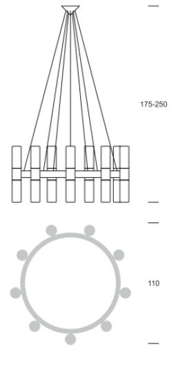 CARLO Ż18 up-down Żyrandol wymiary