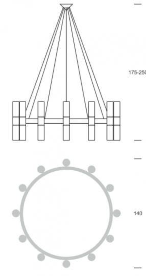CARLO Ż24 up-down Żyrandol wymiary