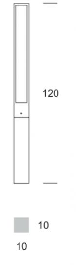 FRYZJA LO 1,2m Lampa Ogrodowa wymiara