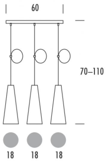LUIZA LS3 Lampa Sufitowa wymiary