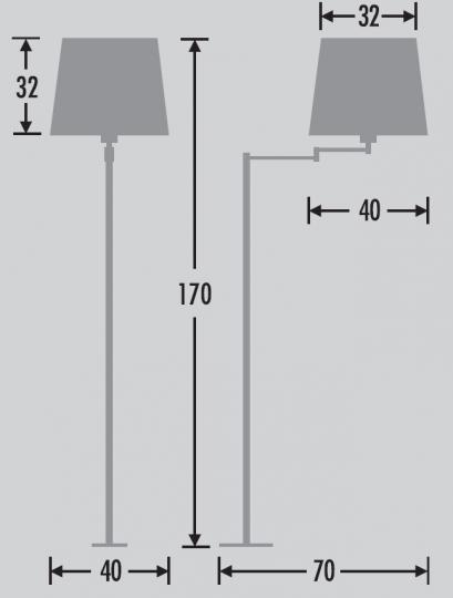 RUMBA LP-R2 Lampa Podłogowa wymiary