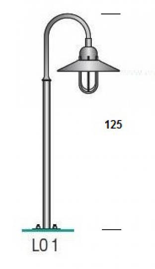 POMERANIA LO1 1,25m Lampa Ogrodowa wymiary