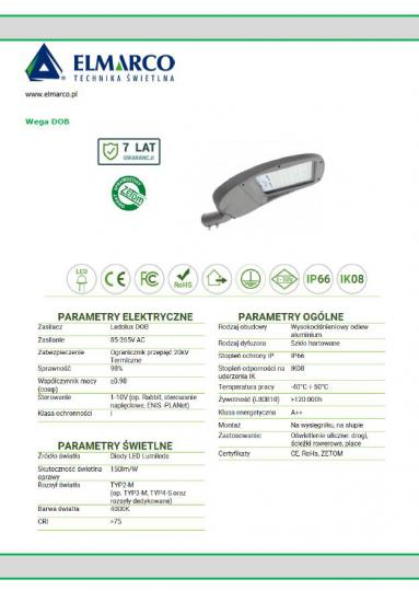 WEGA DOB LED Oprawa dane techniczne 1