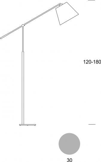 MILENA LP R Lampa Podłogowa regulowana wymiary