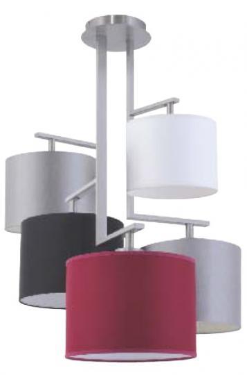 NINA Ż5 Żyrandol inox, nowowczesny żyrandol z kolorowymi abażurami, ElmarCo POLSKI producent oświetlenia elmarco_pl
